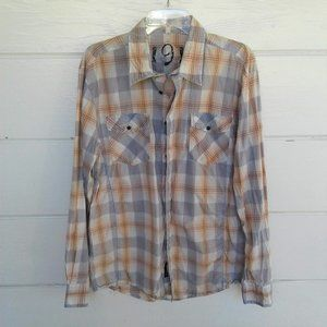 191 Beige Blue Plaid Button Down Shirt XL